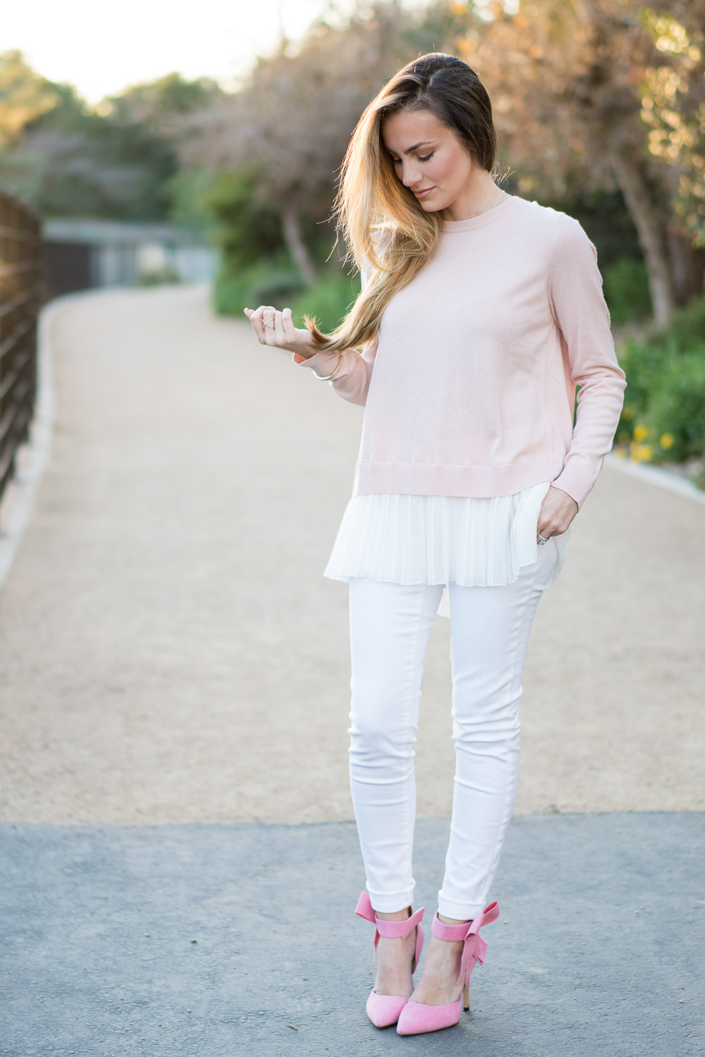 Ruffle Hem Shirt, Lilly Pulitzer White Jeans and Pink Bow Heels