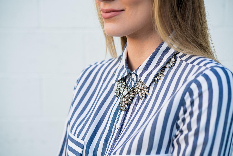 Zara striped top Baublebar statement necklace
