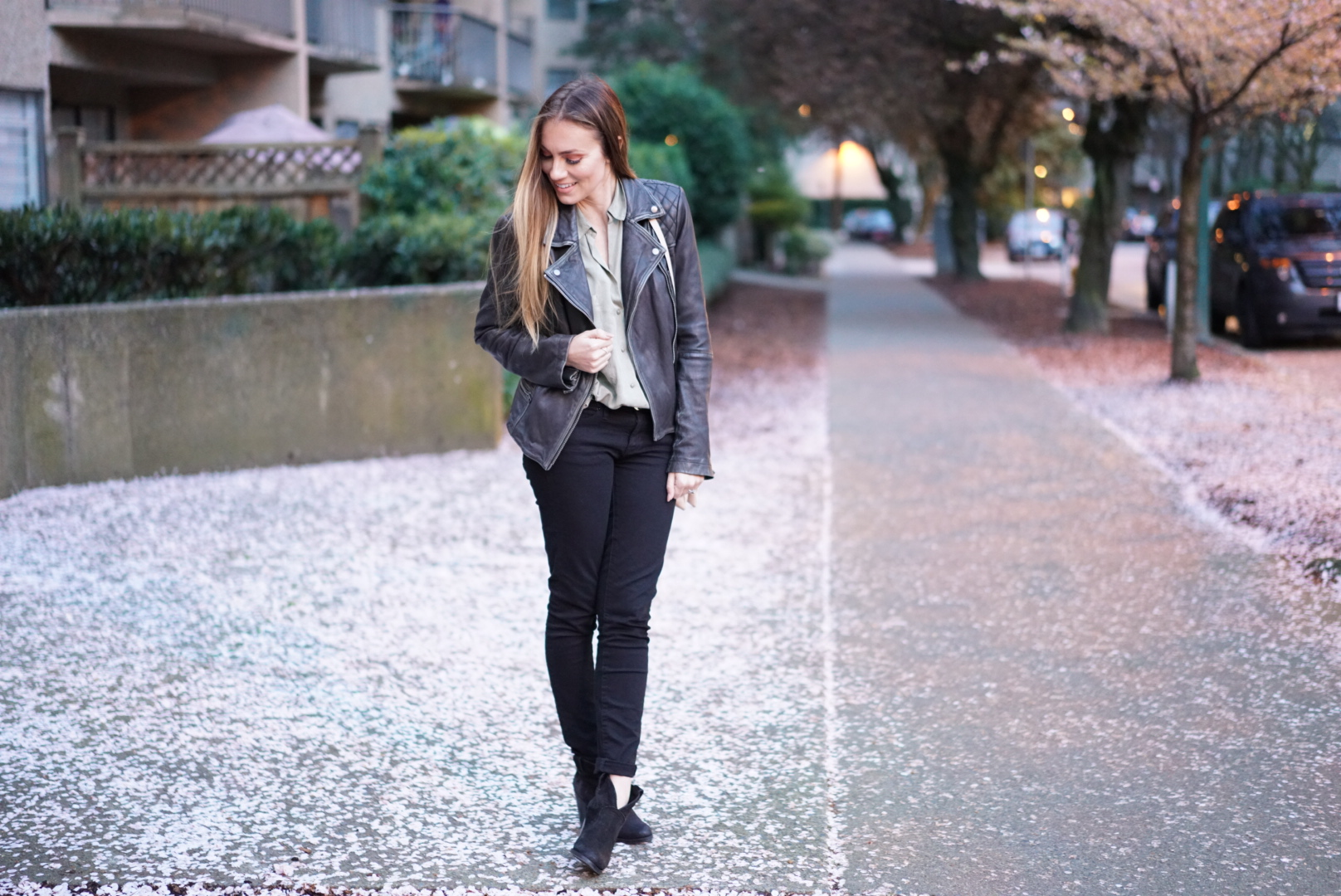 All Saints Cargo Leather jacket, zara olive green button-up shirt and urban outfitters black jeans