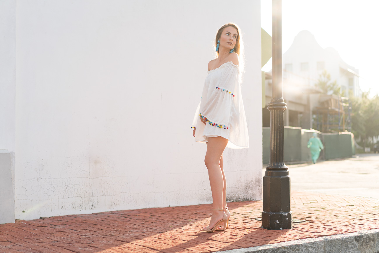 SheIn white beach dress pom pom trim angela lanter hello gorgeous
