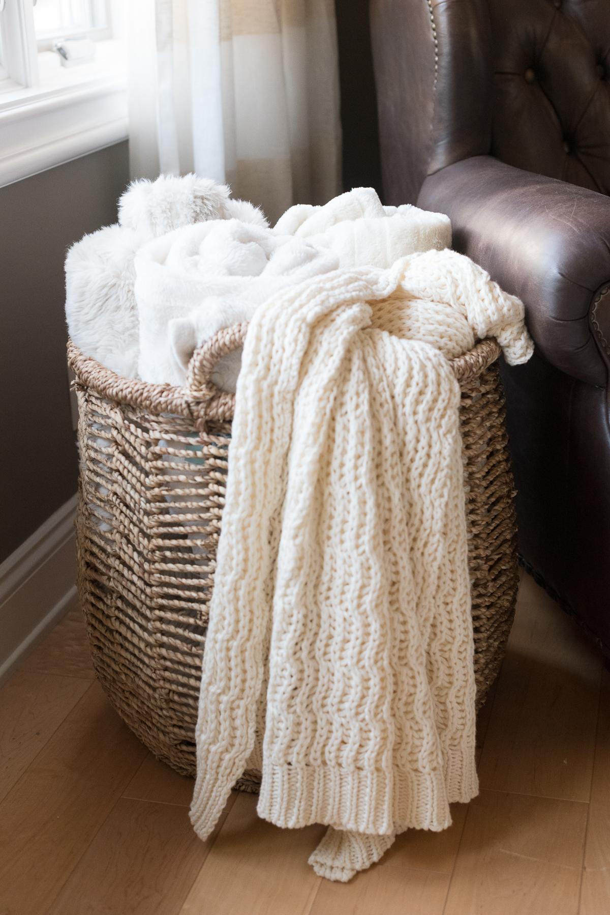 throw blanket basket living room decor angela lanter hello gorgeous