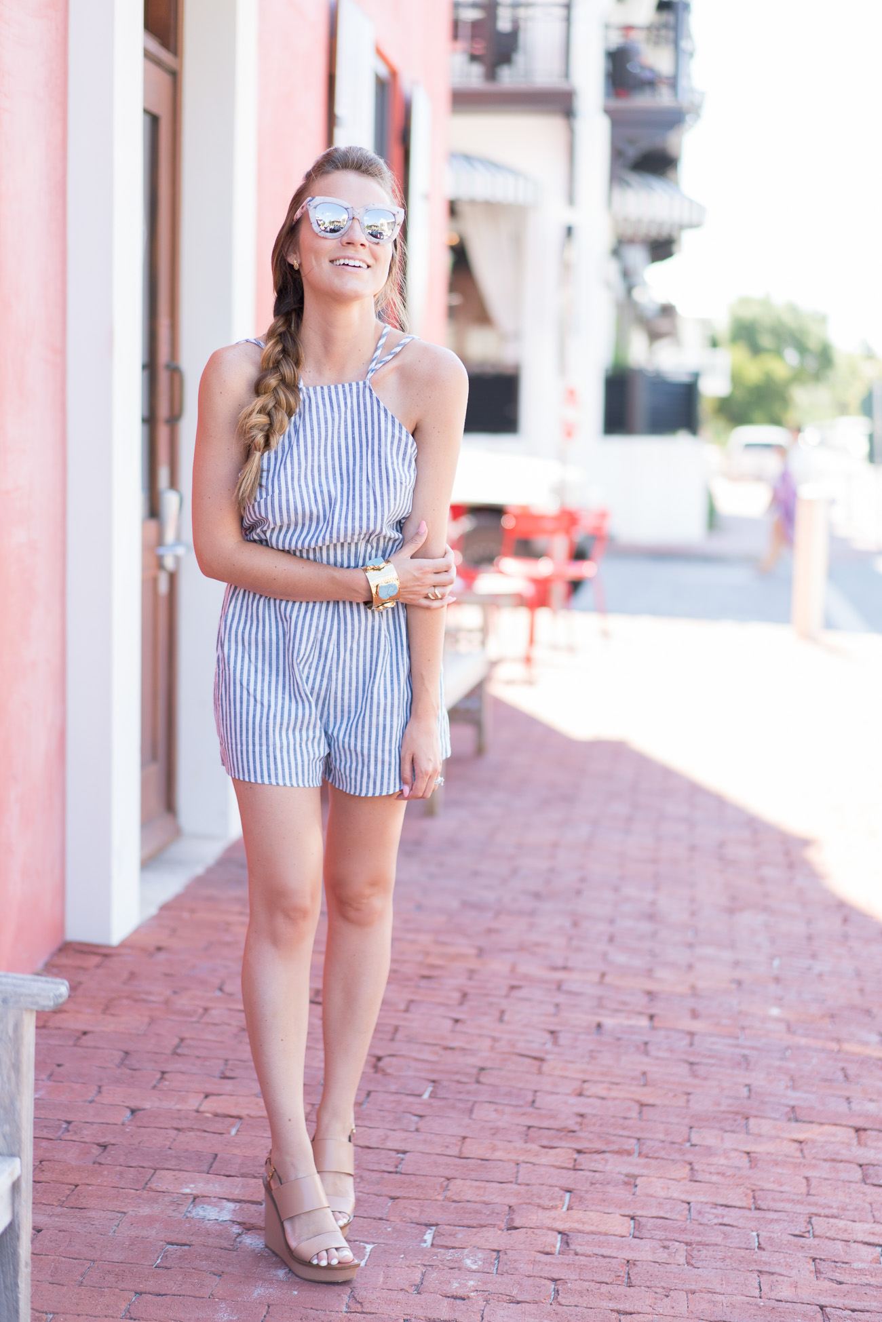 SheIn $15 striped romper Rosemary Beach, FL angela lanter hello gorgeous