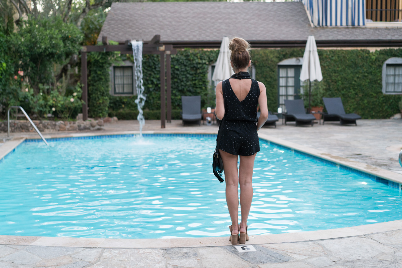 black comfy romper open back wine country overnight stay sonoma, CA angela lanter hello gorgeous