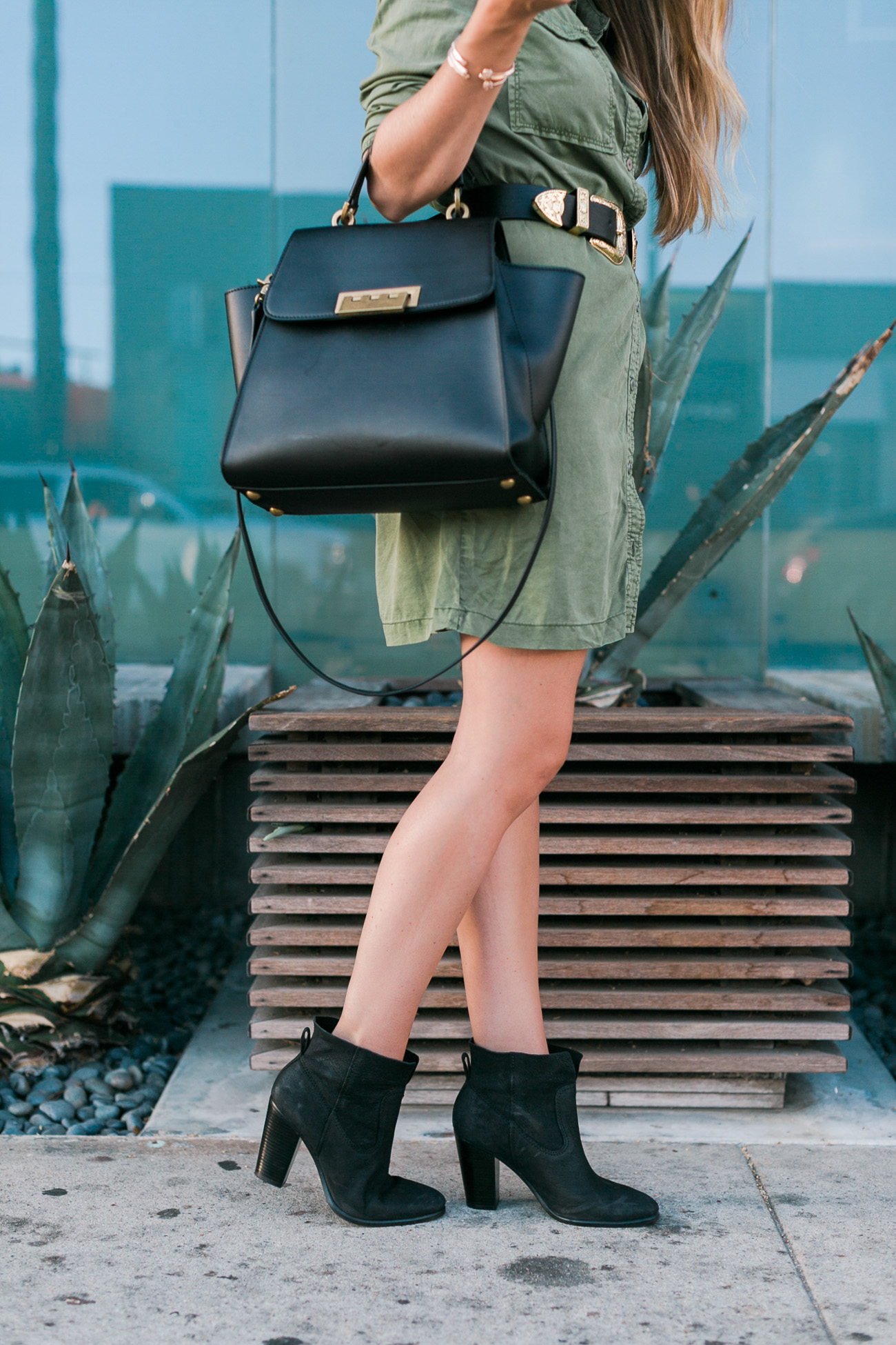 Army green shirt dress b-low the belt double gold buckle belt black vince camuto booties angela lanter fall style outfit hello gorgeous