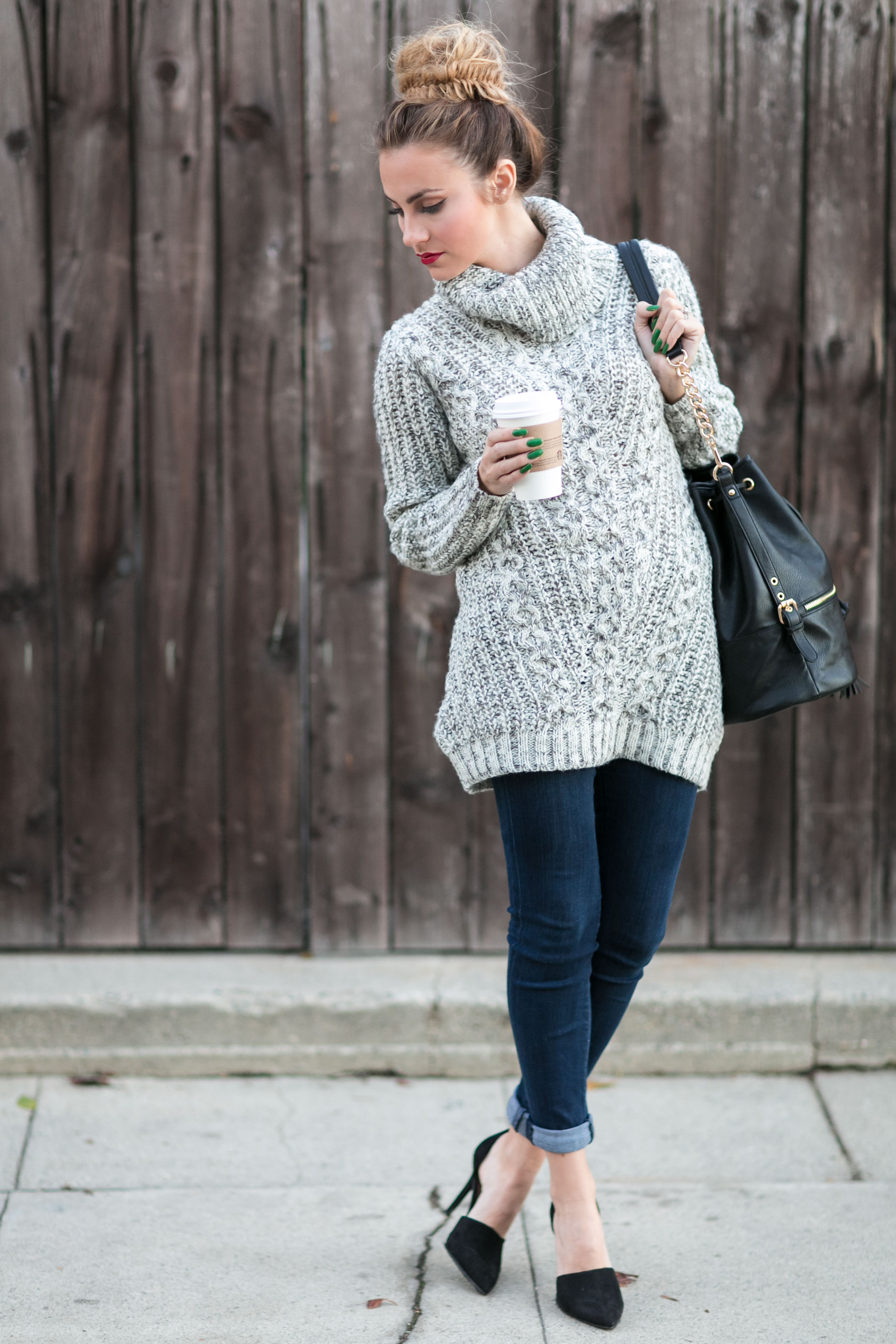 grey marled sweater fall outfit angela lanter hello gorgeous