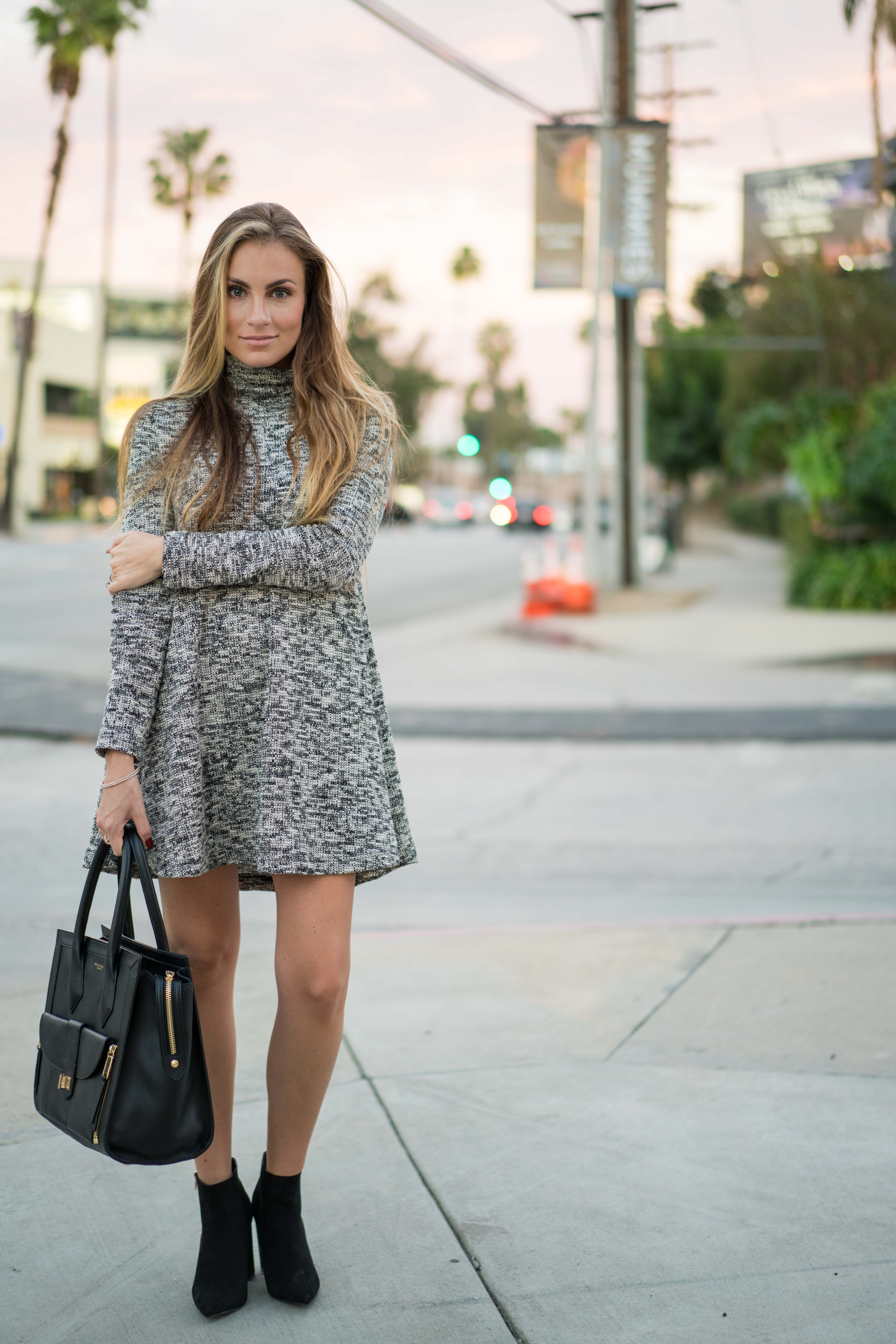 Grey Marled Sweater dress fall outfit angela lanter hello gorgeous