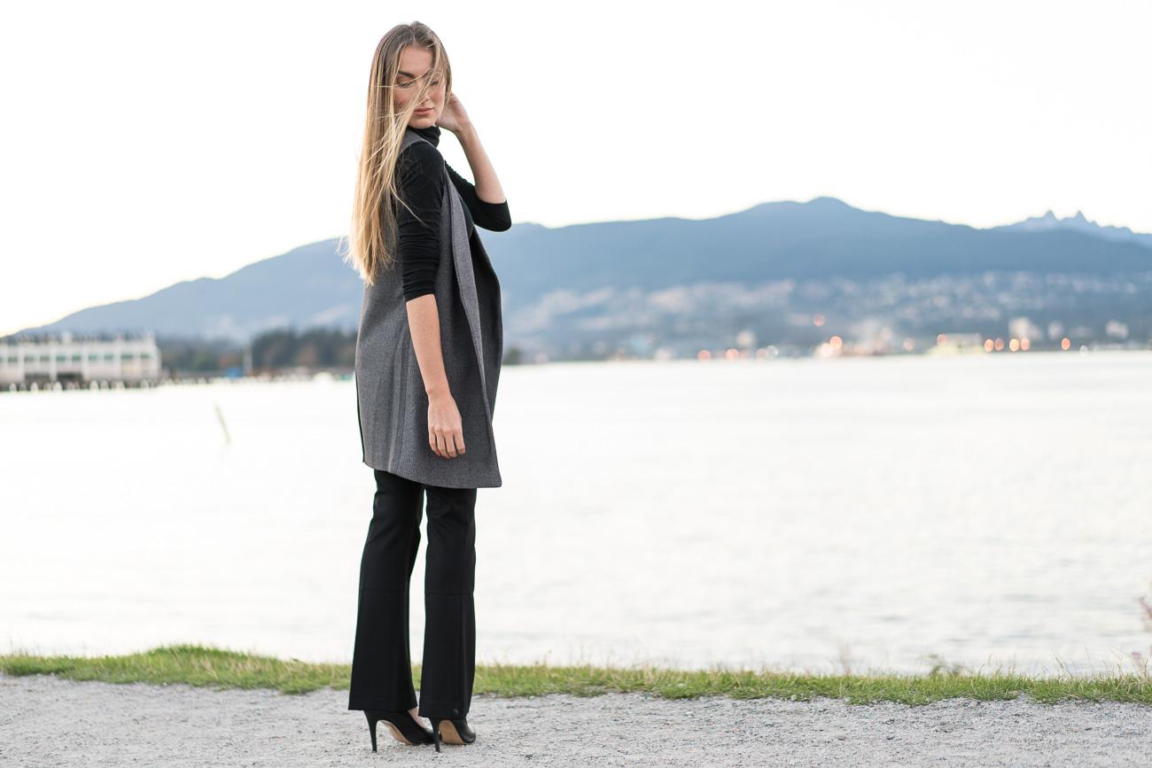 Macy's petite black dress pants black turtleneck grey vest black high heels fall business outfit angela lanter hello gorgeous
