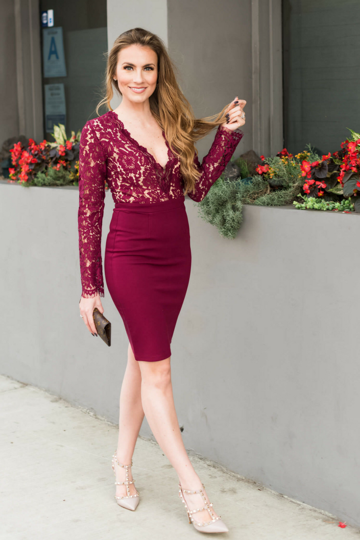 Angela Lanter Outfit. Lulu's Lace Dress in burgundy, Valentino Rockstud shoes and louis vuitton wallet. Hello Gorgeous Blog