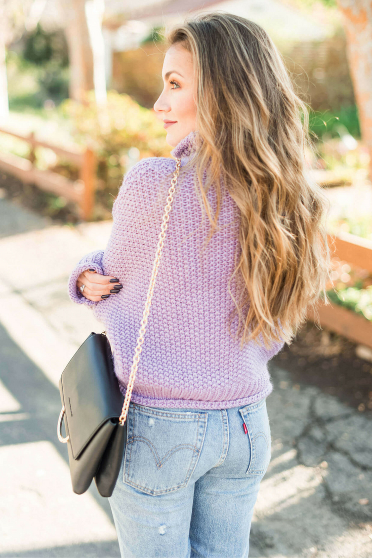 Anthropologie Sweater, Levi's Kick Flare Jeans, Black Pumps (SO comfy!),Henri Bendel Marquis Convertible Clutch. Angela Lanter Outfit - Hello Gorgeous Blog.
