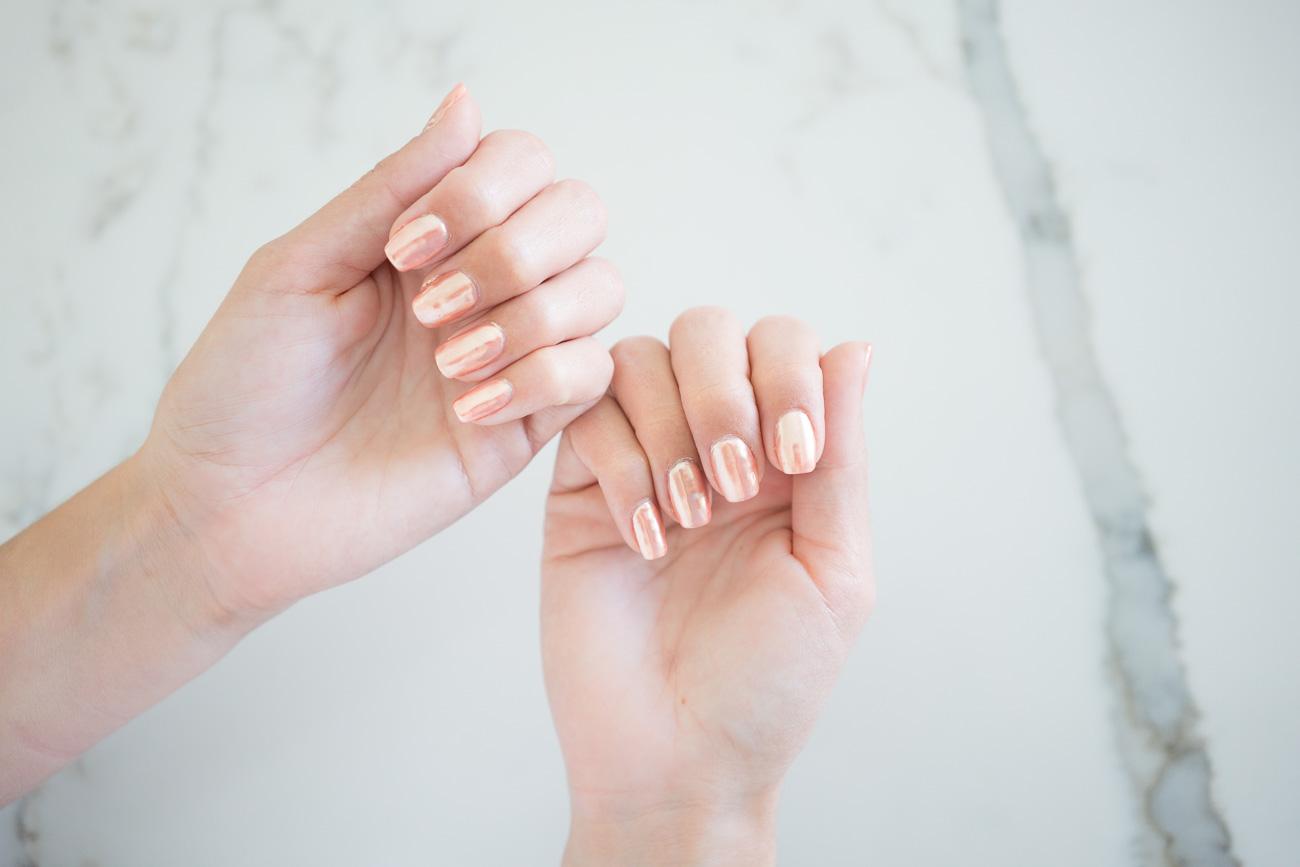 Chrome gel nails mani manicure rose gold angela lanter hello gorgeous