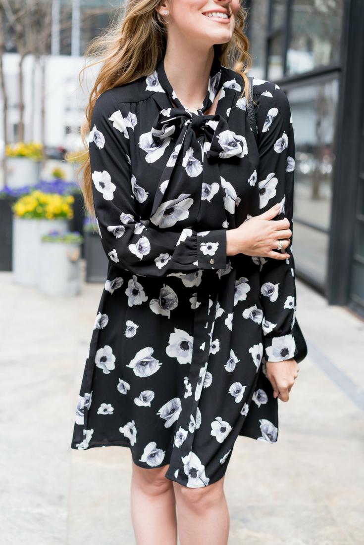 CeCe Floral Print Tie-Neck Dress, Pink Pumps, Crossbody Bag. Angela Lanter Outfit